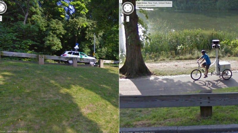 Illustration for article titled Google Street View Car Captures Google Street View Bike Captures Google Street View Car
