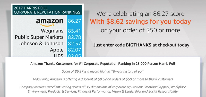 $8.62 off any $50 order shipped and sold by Amazon. Promo code BIGTHANKS.