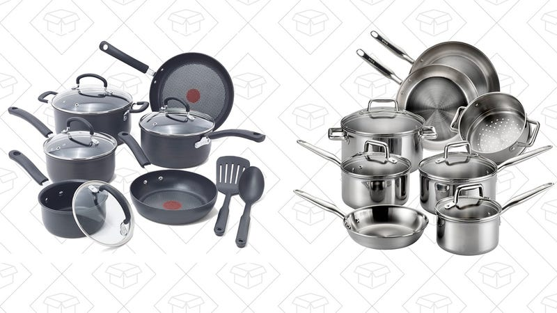 T-fal E765SC Ultimate Hard Anodized Cookware Set, 12-Piece, Gray | $59 | AmazonT-fal E469SC Tri-ply Stainless Steel Multi-clad Cookware Set, 12-Piece, Silver | $105 | Amazon