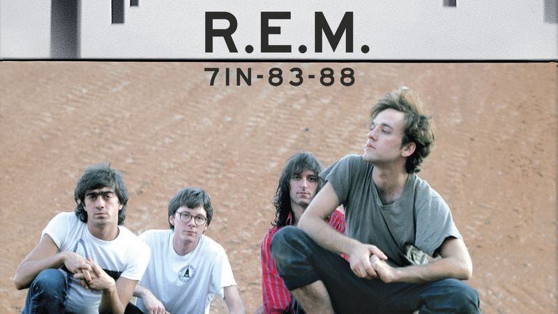 Illustration for article titled Win a R.E.M. box set featuring vinyl 7-inch singles from the band's early days