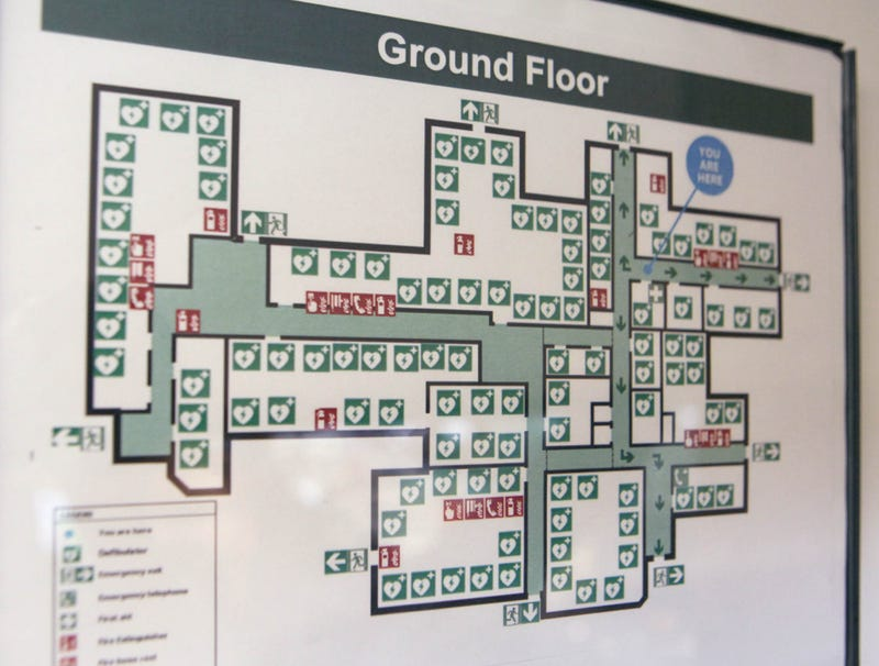 Illustration for article titled Floor Plan Of Retirement Community 90% Defibrillator Locations