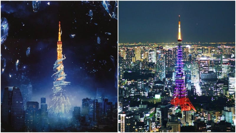 tokyo tower turned into a final fantasy dungeon