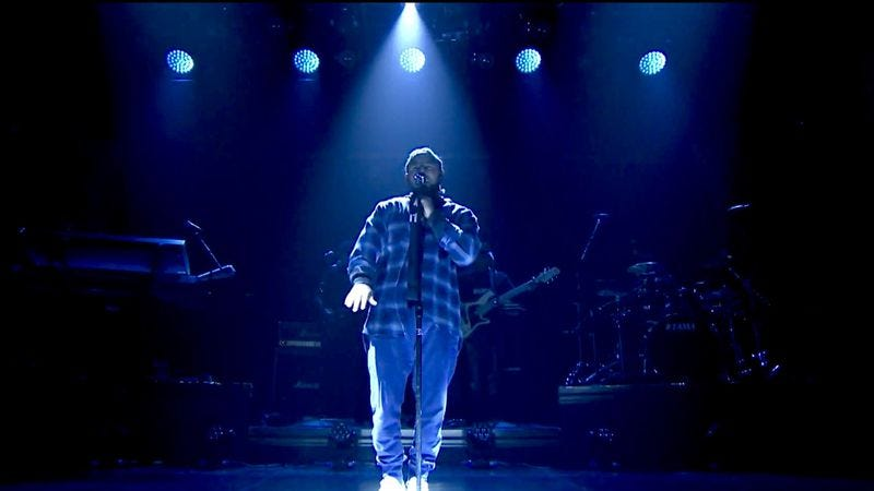 """Illustration for article titled Kendrick Lamar performs a new track, """"Untitled 2,"""" on The Tonight Show"""