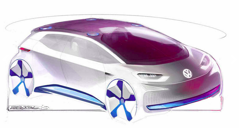 These Sketches Of Volkswagen's Upcoming Electric Car Show A Badass Little Hatchback
