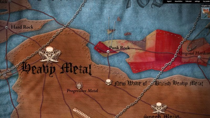 Illustration for article titled Behold, the Map Of Metal