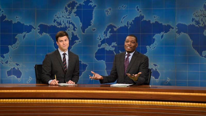 Che (right) with Weekend Update co-anchor Colin Jost (Photo: Will Heath/NBC/NBCU Photo Bank via Getty Images)