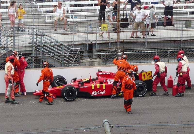 Illustration for article titled Graham Rahal Crashes Exiting Turn Four, Dixon Takes Lead