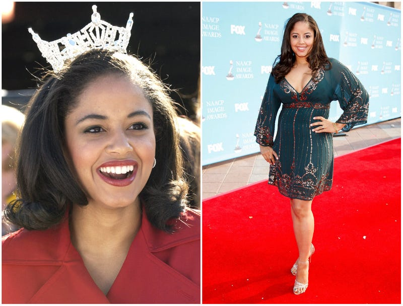 Miss Virginia, Nancy Redd, watches prerace introductions on Oct. 19, 2003, at the NASCAR Subway 500 at Martinsville Speedway in Martinsville, Va. (left). Now-writer Nancy Redd arrives at the 39th NAACP Image Awards held at the Shrine Auditorium on Feb. 14, 2008, in Los Angeles.
