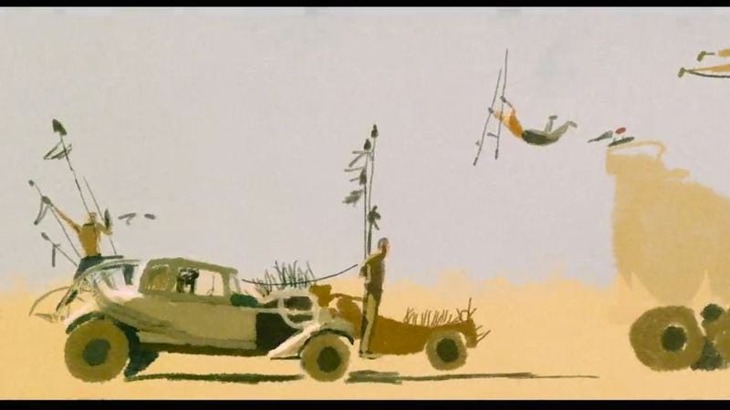 What a lovely video: Mad Max trailer turned into a watercolor animation