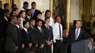 President Barack Obama delivers remarks about his My Brother's Keeper initiative with students from Chicago's Youth Guidance program Becoming a Man in the East Room at the White House Feb. 27, 2014, in Washington, D.C.Chip Somodevilla/Getty Images