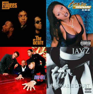 Top row: The Fugees' The Score; Foxy Brown's Ill Na Na. Bottom row: Dru Hill's self-titled album; Jay Z's Reasonable Doubt.