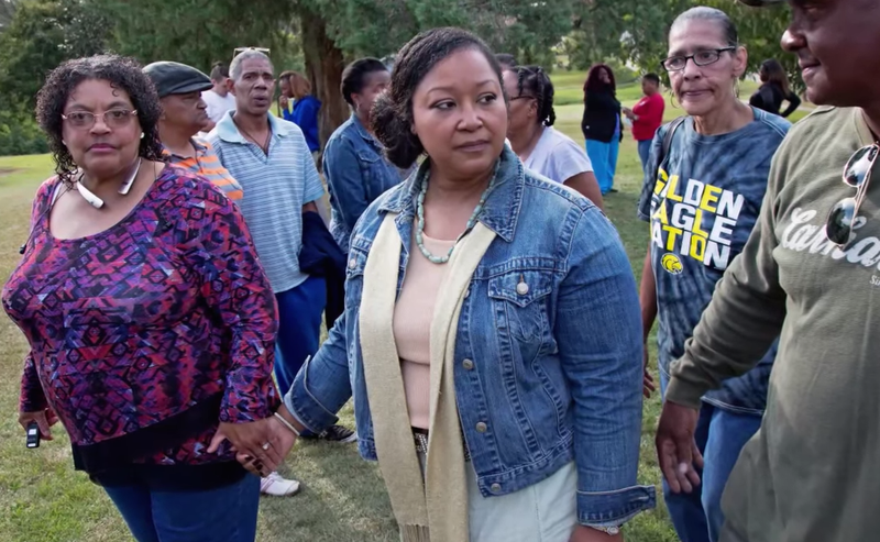 Stacey Payton (center), the mother of the 15-year-old Stone High School student in Wiggins, Miss., who had a noose put around his neck by white schoolmatesYouTube