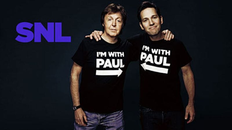 "Illustration for article titled Saturday Night Live: ""Paul Rudd/Paul McCartney"""