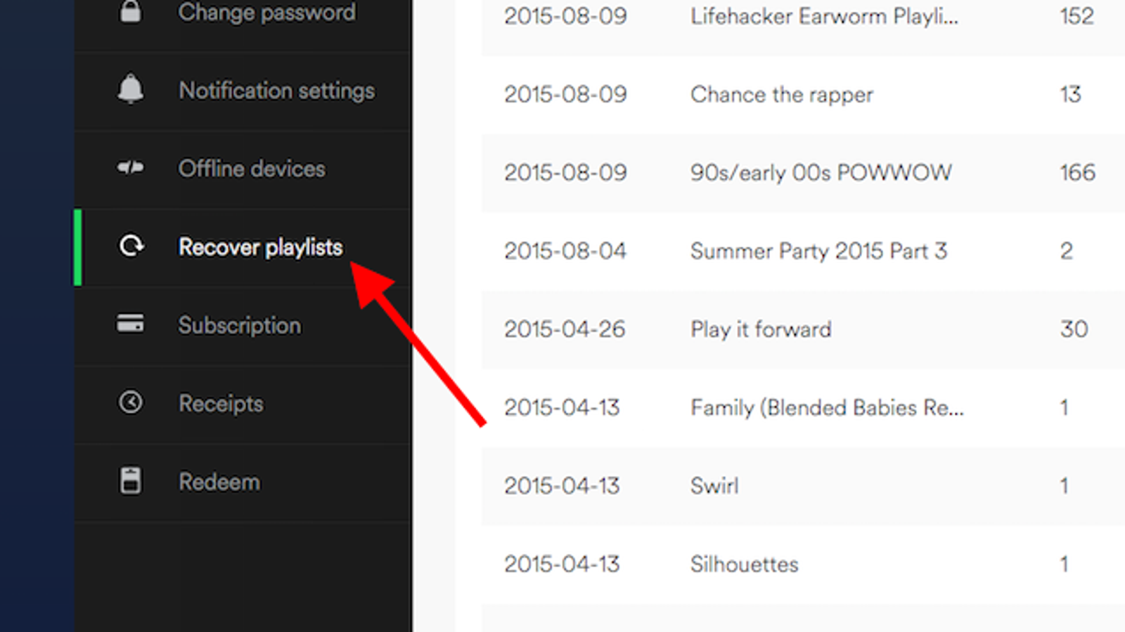 Delete Spotify Account >> Recover Lost Spotify Playlists From Your Account Page