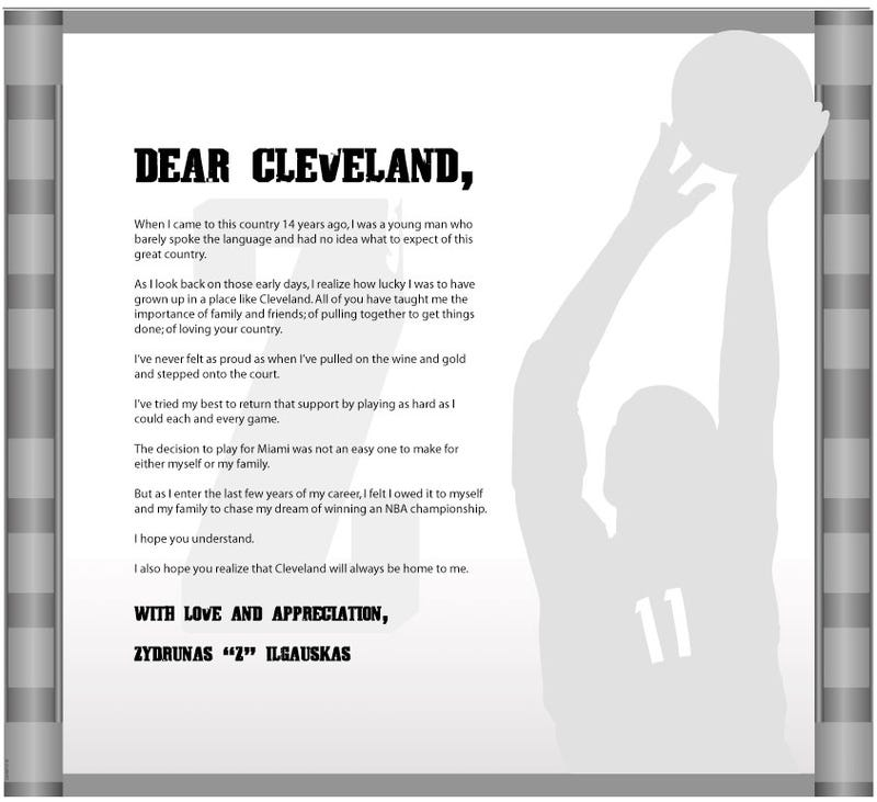 Illustration for article titled Miami Bound Cavs Star Thanks Cleveland Fans. Not That One, Obviously.