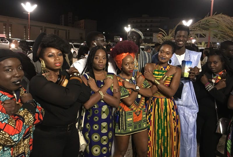 Ciku Kimeria (far right) and friends at a screening of Black Panther in Dakar, Senegal (Chika Oduah)