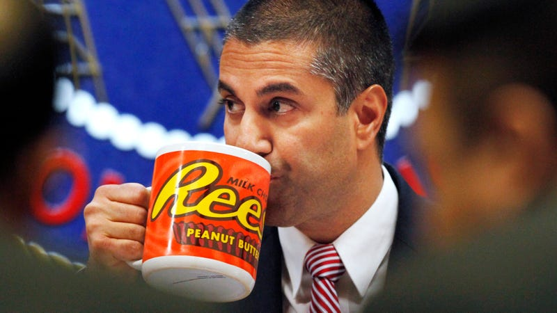 Ajit Pai taking a big sip of hot coffee, we'd like to imagine right before he heard about this.