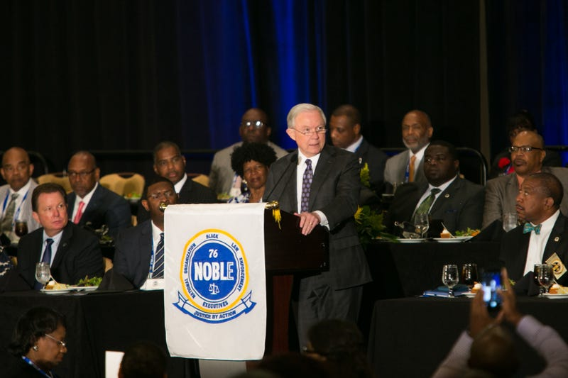 Members of the National Organization of Black Law Enforcement Executives listen to a speech by Attorney General Jeff Sessions at NOBLE's 41st annual training conference Aug. 1, 2017, in Atlanta.  (Jessica McGowan/Getty Images)