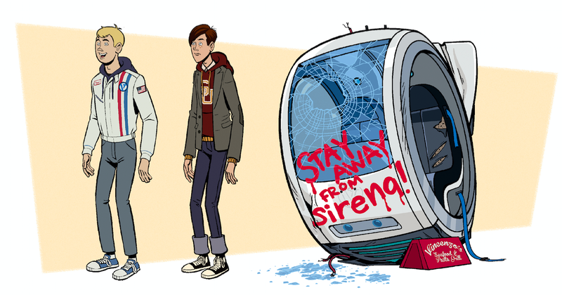 A glimpse of Hank and Dean from the upcoming seventh season of The Venture Bros., as shown in the Go Team Venture! The Art and Making of The Venture Bros. art book.