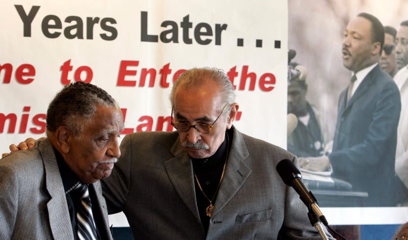 Civil rights leaders Joseph Lowery and Wyatt Tee Walker take to the podium during a rally at the National Press Club in Washington, D.C., on July 2, 2008. (Susan Walsh/AP Images)