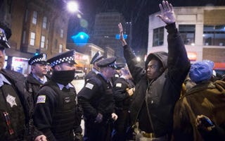 Demonstrators confront police during a protest over the death in October 2014 of Laquan McDonald on Nov. 25, 2015, in Chicago.Scott Olson/Getty Images