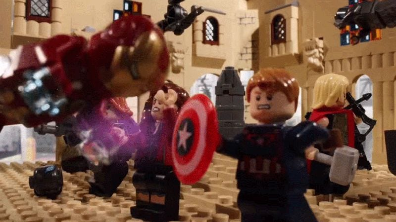 Illustration for article titled Age Of Ultron In 2 Minutes snaps together the film's high and low points in LEGO