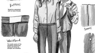 Illustration for article titled Look for Taped Seams in the Waistband for Quality Pants
