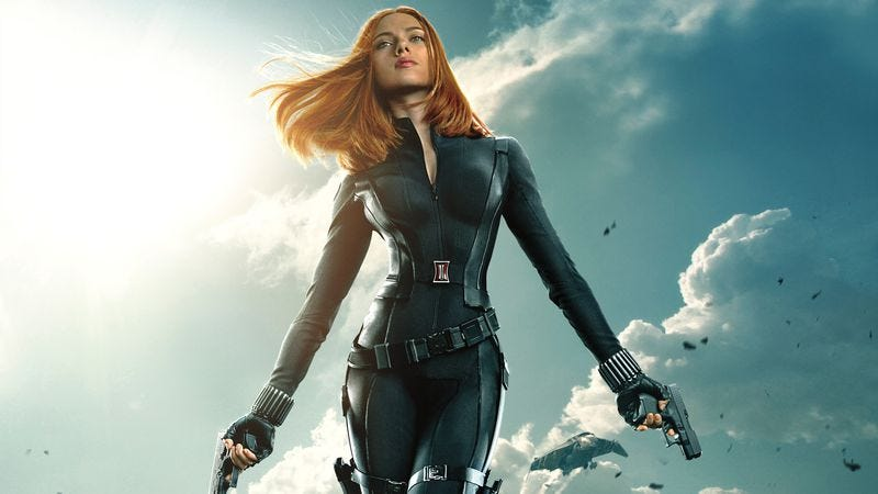 Black Widow strikes a totally practical pose on the poster for Captain America: The Winter Soldier