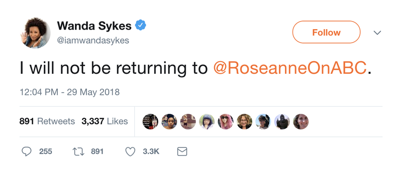 Illustration for article titled Wanda Sykes Says She's Not Returning to Roseanne After Roseanne Barr Racist Twitter Tirade
