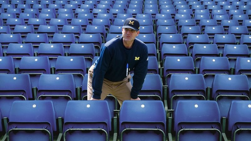 Illustration for article titled Jim Harbaugh Spends Day Testing Every Single Seat View In Michigan Stadium
