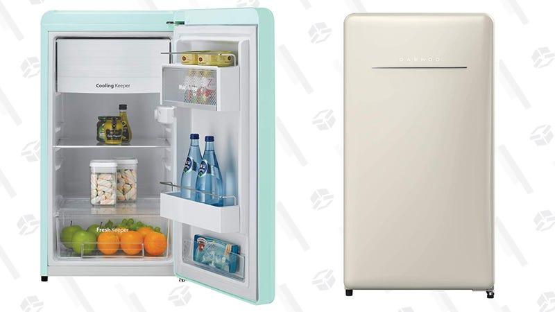 Daewoo Retro Compact Refrigerator, Mint Green, City Blue, and Cream Beige   $229   Amazon