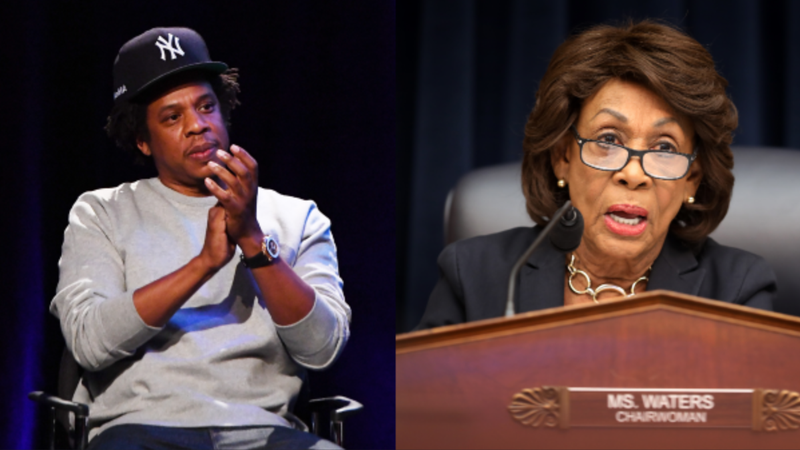 (L-R): Shawn 'Jay-Z' Carter speaks onstage during the launch of The Reform Alliance on January 23, 2019 in New York City. ; House Financial Services Committee Chairwoman Maxine Water (D-CA) questions Wells Fargo and Company CEO Timothy Sloan as he testifies before the committee on Capitol Hill March 12, 2019 in Washington, DC.