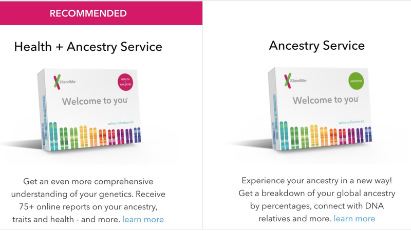 23andMe DNA Test - Health + Ancestry | $139 | Amazon 23andMe DNA Test - Ancestry | $69 | Amazon