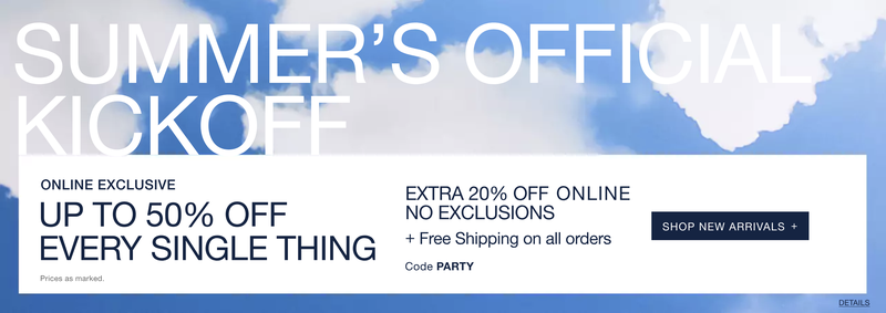 Up to 50% off everything | GAPExtra 20% off, plus free shipping | GAP | Use code PARTY