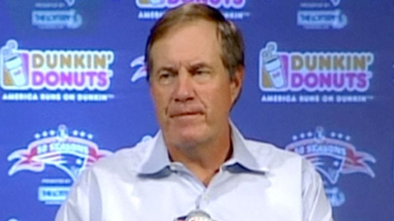 Illustration for article titled Bill Belichick's Tears Eat Through Podium