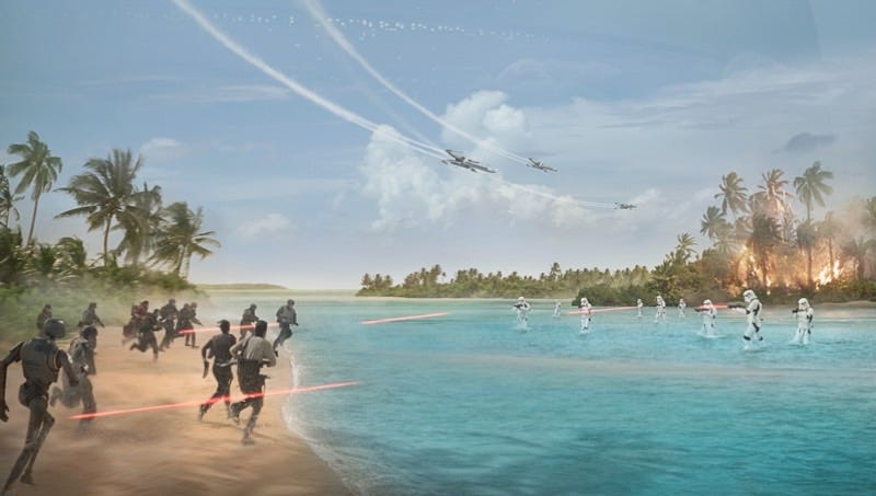 Illustration for article titled The First Poster for Rogue One: A Star Wars Story Shows a Battle in Paradise