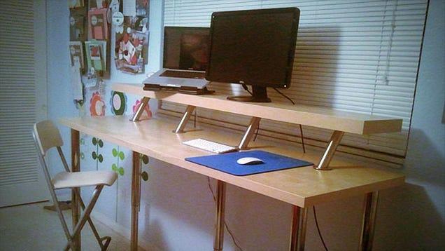 Build A Diy Wide Adjustable Height Ikea Standing Desk On