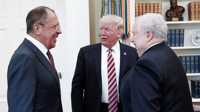 President Trump meeting with Russian officials in the Oval Office.