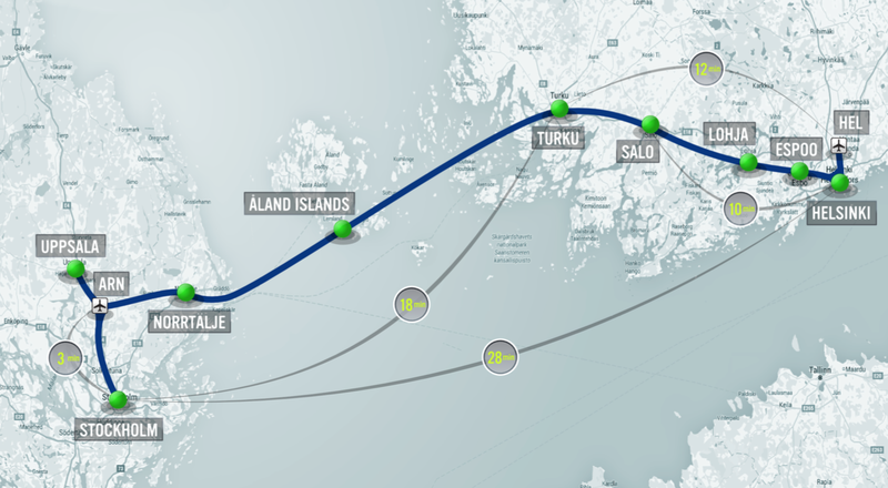 After Hyperloop, passengers can make the trip from Helsinki to Stockholm in about 28 minutes