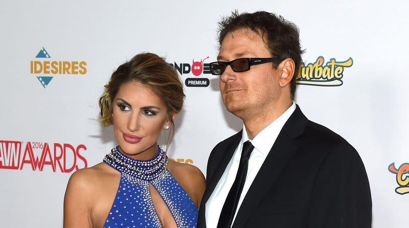 August Ames (L) and adult film producer Kevin Moore at the 2016 Adult Video News Awards.