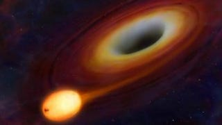 Illustration for article titled Ultra-Bright Burst of Light Marks the Death Throes of a Star Being Eaten Alive