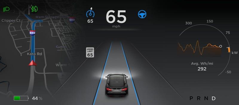 Autopilot dashboard view. Image credit: Tesla