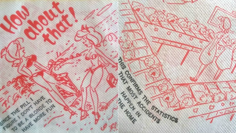 Illustration for article titled Artifact of the Day: This Cocktail Napkin Covered in Racy Jokes About the Pill and Pregnancy