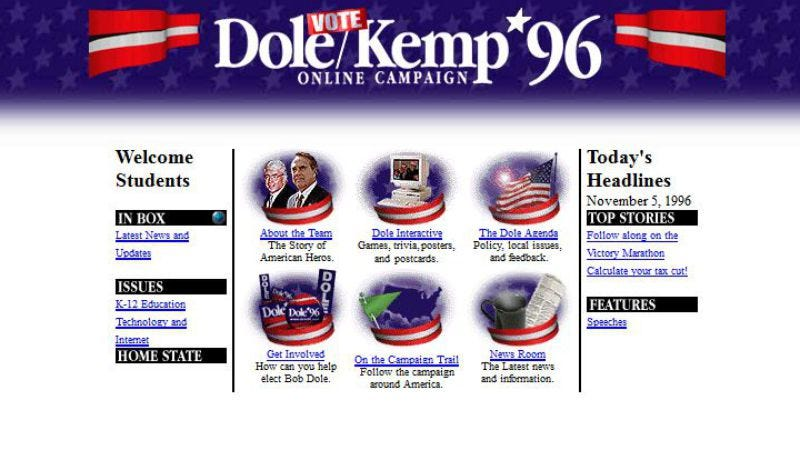Illustration for article titled The Dole-Kemp 1996 website is still live, and amazingly slow