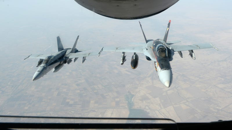 Two U.S. Navy F/A-18 jets fly over northern Iraq. Photo credit: U.S. Department of Defense
