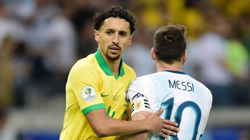"Illustration for article titled Brazil's Marquinhos Says Battling Diarrhea Made Defending Messi ""Very Difficult"""