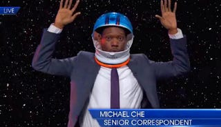 Michael Che in a comedy sketch about Ferguson, Mo., on The Daily Show With Jon StewartYouTube screenshot