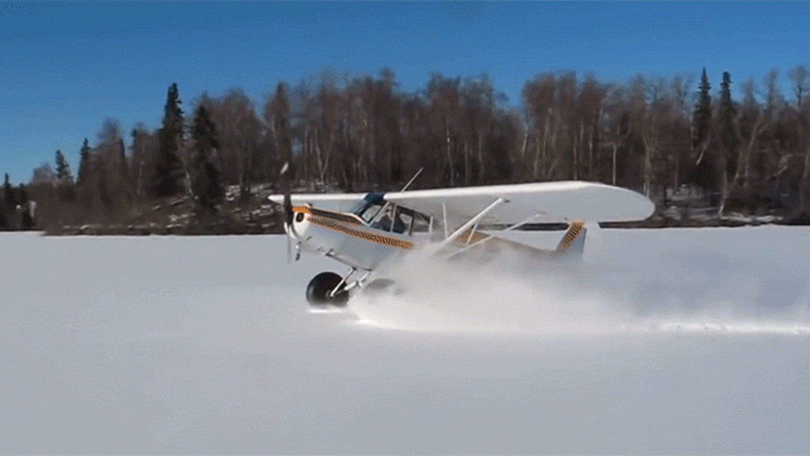A plane landing in the snow and doing donuts is the funnest thing