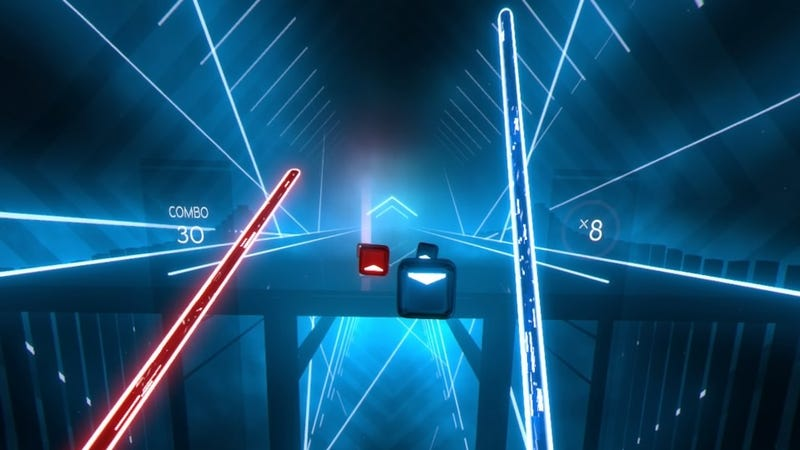 Illustration for article titled Beat Saber keeps tricking my stupid fat brain into exercising