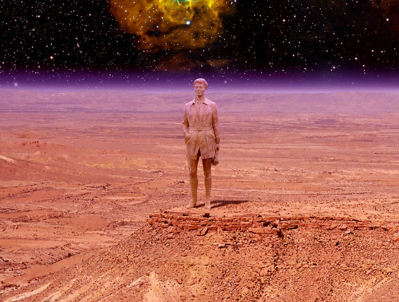 Illustration for article titled Hubble Telescope Discovers Giant Amelia Earhart Statue On Distant Planet